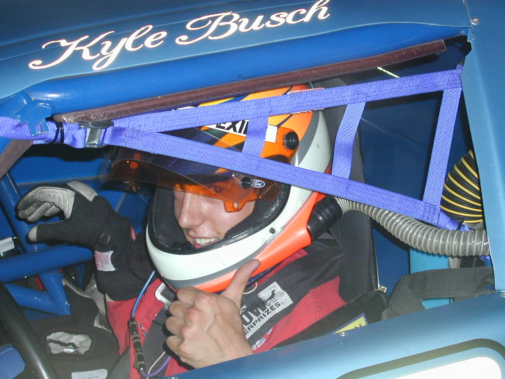 Busch after winning his first race in Late Models, Photo LVMS